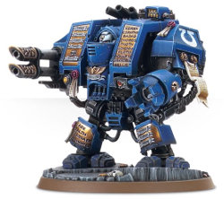 Combat walker in 1/56 scale (Space Marine Venerable Dreadnought for Warhammer 40.000 Ed8) from Games Workshop - Miniature figure review