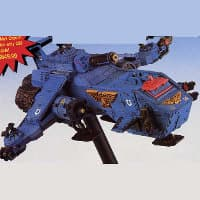 Combat flyer in 1/64 scale - Thunderhawk Gunship #1 for Warhammer 40,000 Ed2 from Games Workshop, 1998 - Miniature vehicle review