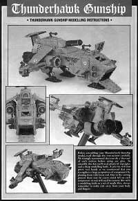Combat flyer in 1/56 scale (Thunderhawk Gunship #1 for Warhammer 40,000 Ed2) from Games Workshop - Miniature figure review