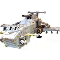 Combat flyer in 1/64 scale - Thunderhawk Gunship #2 for Warhammer 40,000 Ed4 from Games Workshop (Forge World), 2002 - Miniature vehicle review