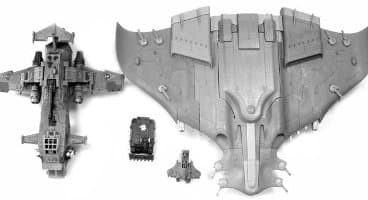 Size comparison: Thunderhawk Gunship #2, Rhino, Tau Piranha, and Tau Manta from Games Workshop (Forge World)