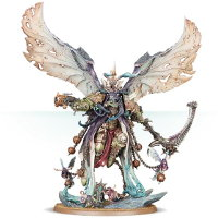 Giant winged humanoid warrior with scythe and pistol in 1/56 scale (Mortarion, Daemon Primarch of Nurgle #2 for Warhammer 40,000 Ed8) from Games Workshop, 2017.09 - Miniature figure review