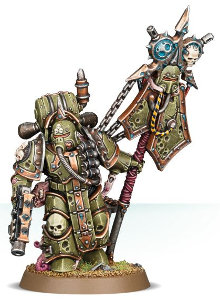 Futuristic armoured humanoid in 1/56 scale (Plague Marine Icon Bearer of the Chaos Death Guard for Warhammer 40,000 Ed8) from Games Workshop, 2017 - Miniature figure review