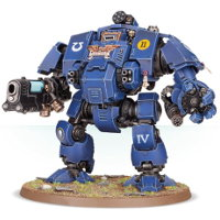 Combat walker with heavy cannon and mechanical fist in 1/64 scale (Primaris Redemptor Dreadnought #1 build #1 for Warhammer 40.000 Ed8) from Games Workshop, 2017 - Miniature figure review