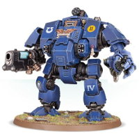 Combat walker with heavy cannon and mechanical fist in 1/64 scale (Primaris Redemptor Dreadnought #1 build #2 for Warhammer 40.000 Ed8) from Games Workshop, 2017 - Miniature figure review