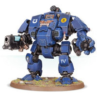 Combat walker with heavy cannon and mechanical fist in 1/64 scale (Primaris Redemptor Dreadnought #1 build #3 for Warhammer 40.000 Ed8) from Games Workshop, 2017 - Miniature figure review