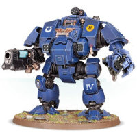 Combat walker with heavy cannon and mechanical fist in 1/64 scale (Primaris Redemptor Dreadnought #1 build #4 for Warhammer 40.000 Ed8) from Games Workshop, 2017 - Miniature figure review