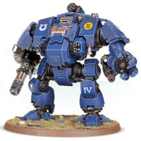 Combat walker with heavy rotary cannon and mechanical fist in 1/64 scale (Primaris Redemptor Dreadnought #1 build #5 for Warhammer 40.000 Ed8) from Games Workshop, 2017 - Miniature figure review