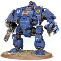 Combat walker with heavy cannon and mechanical fist in 1/64 scale (Primaris Redemptor Dreadnought #1 build #8 for Warhammer 40.000 Ed8) from Games Workshop, 2017 - Miniature figure review