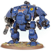 Combat walker with heavy rotary cannon and mechanical fist in 1/64 scale (Primaris Redemptor Dreadnought #1 build #7 for Warhammer 40.000 Ed8) from Games Workshop, 2017 - Miniature figure review