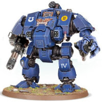 Combat walker with heavy rotary cannon and mechanical fist in 1/64 scale (Primaris Redemptor Dreadnought #1 build #8 for Warhammer 40.000 Ed8) from Games Workshop, 2017 - Miniature figure review
