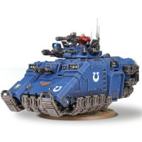 Hovering combat vehicle in 1/64 scale (Primaris Repulsor build #1 for Warhammer 40.000 Ed8) from Games Workshop, 2017 - Miniature vehicle review