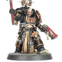 Futuristic warrior in full armour in 1/64 scale - Primaris Space Marine Chaplain #2 in Mk10 Tacticus armour, with crozius arcanum from Indomitus set for Warhammer 40,000 Ed9 from Games Workshop, 2020 - Miniature figure review