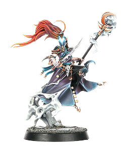 Flying magic-user with sword and staff (Mistweaver Saih for Warhammer Quest) from Games Workshop - Miniature figure