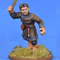 Warrior with sling in 1/56 scale - Saxon Ceorl with Sling #3 for the Saxons of Saga: Aetius & Arthur from Gripping Beast - Miniature figure review