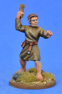 Warrior with sling in 1/56 scale - Saxon Ceorl with Sling #4 for the Saxons of Saga: Aetius & Arthur from Gripping Beast - Miniature figure review