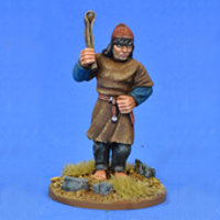 Warrior with sling in 1/56 scale - Saxon Ceorl with Sling #1 for the Saxons of Saga: Aetius & Arthur from Gripping Beast - Miniature figure review