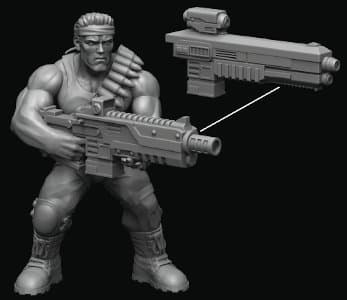 "Modern soldier with automatic rifle, resembling Arnold Schwarzenegger, as Alan ""Dutch"" Shaefer - Bill for the Jungle Fighters from Hardcore Miniatures, 2020 - Miniature figure review"