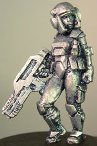 Futuristic soldier in modern armour with assault rifle (Debra) from Hasslefree Miniatures