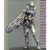 Futuristic soldier in modern armour with assault rifle (McKenzie (b)) from Hasslefree Miniatures