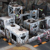 Futuristic scenery system in 1/56 scale (Battlezones for Deadzone) from Mantic Games - Miniature scenery review