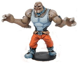 Futuristic humanoid warrior in 1/56 scale - Long Rock Lifers Grogan Guard #1 for DreadBall from Mantic Games, 2014