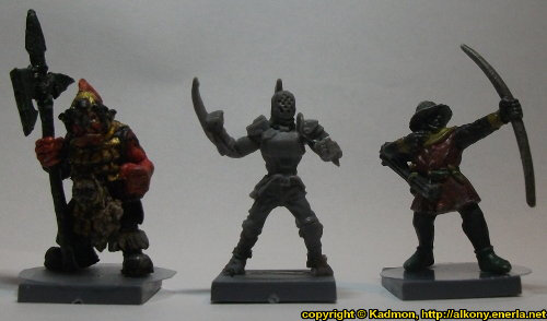 Size comparison of Long Rock Lifers Jack #1 with 1:56 (28mm / 32mm) miniatures: From left to right: Orc with Spear #2 from Renegade Miniatures, Long Rock Lifers Jack #1 from Mantic Games, Bretonnian Bowman #1 from Games Workshop.