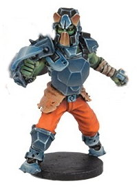 Futuristic humanoid warrior in 1/56 scale - Long Rock Lifers Jack #2 for DreadBall from Mantic Games, 2014