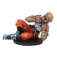 Struggling futuristic human in 1/56 scale - Long Rock Lifers Prone player for DreadBall from Mantic Games, 2014