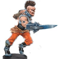 Futuristic human warrior in 1/56 scale - Long Rock Lifers Striker #1 for DreadBall from Mantic Games, 2014