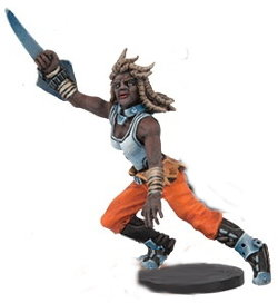 Futuristic human warrior in 1/56 scale - Long Rock Lifers Striker #2 for DreadBall from Mantic Games, 2014