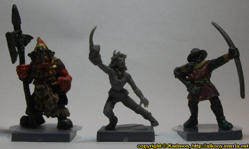 Size comparison of Long Rock Lifers Striker #2 with 1:56 (28mm / 32mm) miniatures: From left to right: Orc with Spear #2 from Renegade Miniatures, Long Rock Lifers Striker #2 from Mantic Games, Bretonnian Bowman #1 from Games Workshop.