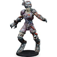 Futuristic humanoid warrior in 1/56 scale - New Eden Revenants Human Female Jack for DreadBall from Mantic Games, 2018