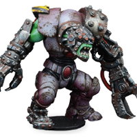 Futuristic humanoid warrior in 1/56 scale - New Eden Revenants Orc Guard for DreadBall from Mantic Games, 2018