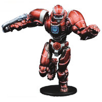 Futuristic humanoid warrior in 1/56 scale - Draconis All-Stars Captain (Jack): Romeo Blue #2 for DreadBall from Mantic Games, 2018