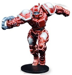 Futuristic humanoid warrior in 1/56 scale - Draconis All-Stars Striker #1 for DreadBall from Mantic Games, 2018
