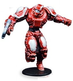 Futuristic humanoid warrior in 1/56 scale - Draconis All-Stars Striker #2 for DreadBall from Mantic Games, 2018