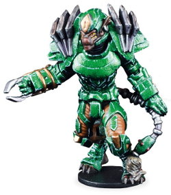 Futuristic humanoid warrior in 1/56 scale - Ninth Moon Tree Sharks Captain (Striker): Na'Huatl #1 for DreadBall from Mantic Games, 2018