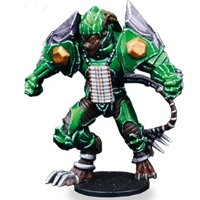 Futuristic humanoid warrior in 1/56 scale - Ninth Moon Tree Sharks Guard #1 for DreadBall from Mantic Games, 2018