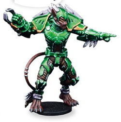 Futuristic humanoid warrior in 1/56 scale - Ninth Moon Tree Sharks Striker #1 for DreadBall from Mantic Games, 2018