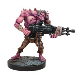 Humanoid with machine gun in 1/56 scale (Plague Gen 3 Mutant #5 for Warpath) from Mantic Games - Miniature figure review