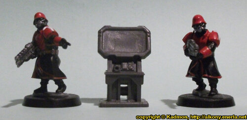 Size comparison of the Computer Terminal #1 miniature scenery from Mantic Games with 1:56 (28mm / 32mm) scale Shock Troopers from Wargames Factory