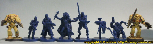 Size comparison of the mercenaries from Star Saga: The Eiras Contract Core Set from Mantic Games with 1:56 (28mm / 32mm) scale Enforcers from Mantic Games. From left to right: Enforcer, Captain Erika Dulinsky, Francesco 'The Devil' Silvaggio, Alyse, Wrath #2, Combat Utility Robot B07153 'Curby', Ogan Helkkare, Enforcer.