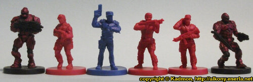 Size comparison of the Star Saga: The Eiras Contract Core Set Plague Victim miniature figures from Mantic Games with 1:56 (28mm / 32mm) Enforcers from Mantic Games. From left to right: Enforcer, Security Guard #3, Guard Commander Graves, Security Guard #2, Security Guard #1, Enforcer.
