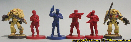 Size comparison of the Star Saga: The Eiras Contract Core Set Plague Victim miniature figures from Mantic Games with with 1:64 (28mm/32mm) scale Space Marines from Games Workshop. From left to right: Space Marine, Security Guard #3, Guard Commander Graves, Security Guard #2, Security Guard #1, Space Marine.