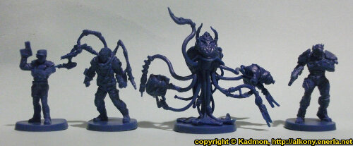 Size comparison of the Star Saga: The Eiras Contract Core Set bosses from Mantic Games. From left to right: Guard Commander Graves, Dr. Lucas Koyner, Organic Data Storage Unit X-02-A, Enforcer ES435 'Monarch'.