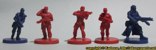 Size comparison of the Star Saga: The Eiras Contract Core Set security guards from Mantic Games. From left to right:Captain Erika Dulinsky, Security Guard #1, Security Guard #2, Security Guard #3, Francesco 'The Devil' Silvaggio.