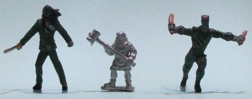 Levy #1 (with mallet) from Menhir Games - 1:50 (35/38mm) comparison with Knight Models' Benjamin Orchard (left) and William Cobb (right)