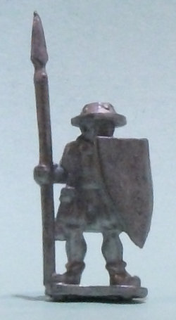 Human warrior with spear and shield (Spearman with shield for Levy Men) from Menhir Games - Miniature figure