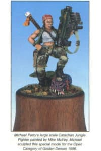 "Inspiration for the Sergeant ""Ripper"" Jackson model: Michael Perry's large scale Catachan Jungle Fighter, sculpted for Golden Demon 1996."